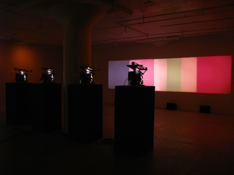 Shutter Interface, 1975, Paul Sharits. 4-screen 16mm loop projection with 4 separate soundtracks, color. Indefinite duration. Courtesy of Greene Naftali, New York. Photograph: Gil Blank. © Greene Naftali, 1975. Used with permission.