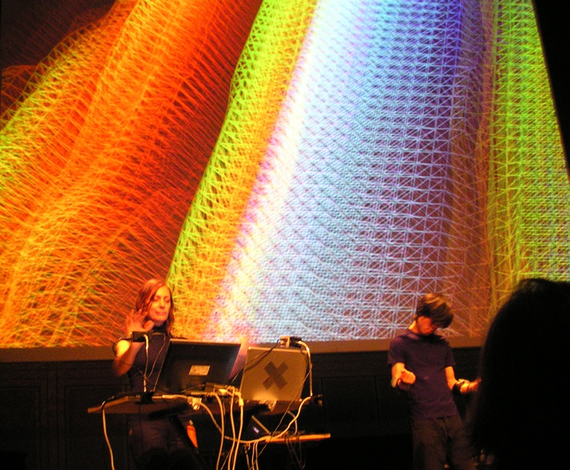 Sensors_Sonics_Sights in performance at IRCAM, Paris, for New Interfaces for Musical Expression (NIME), 2006. © Atau Tanaka, 2006. Used with permission.