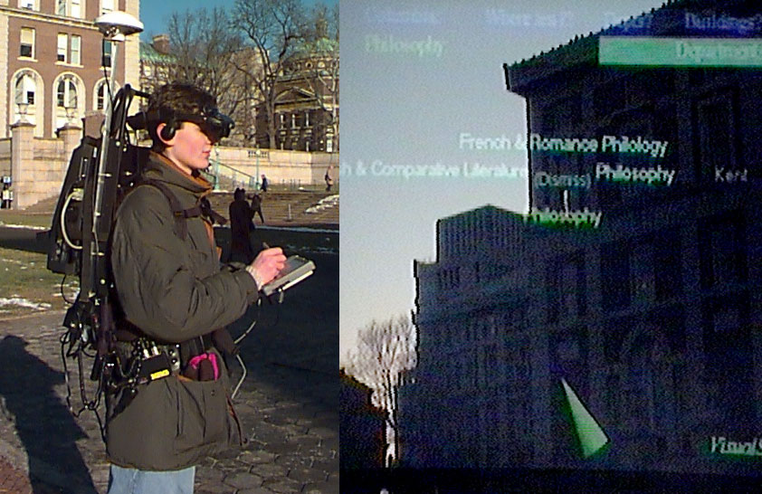 First prototype of the MARS (Mobile Augmented Reality System) system. 1997, © Steven Feiner, Blair MacIntyre, Tobias Hollerer, and Anthony Webster, Columbia University. All rights reserved.